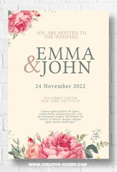 Wedding invitation with floral design - Creative Flyers