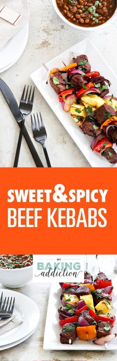Sweet and Spicy Beef Kebabs are a delicious twist on traditional kebabs. Serve them up with baked beans and a crisp salad to create the perfect summer meal! Summer Grilling Recipes, Summer Recipes, New Recipes, Dinner Recipes, Favorite Recipes, Dinner Ideas, Roast Beef Recipes, Grill Recipes, Baked Beans