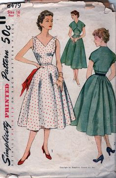 Simplicity 8479 1950s Misses Dress and Jacket vintage seiwng pattern by mbchills