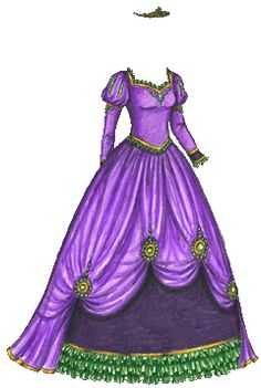 purple and green paper doll ballgown.  Beautiful.