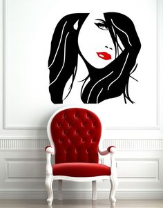 Wall Decal Beauty Salon Decals Girl Face Hair Lips  Eye