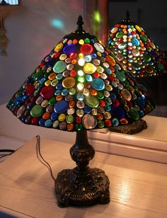 Glass Nugget Lamp Shade with Base 343 by StainedGlassbyWalter