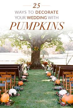 Thanks ashthaprincess for this Ways to Decorate Your Fall Wedding With Pumpkins.Weaving pumpkins into your wedding décor doesn't mean your venue has to transform into a haunted house. Done right, pumpkins can pay a hearty and festive h# Decorate Pumpkin Wedding Cakes, Fall Pumpkin Wedding, Autumn Wedding, Pumpkin Wedding Decorations, Wedding Pumpkins, Rustic Wedding, Aisle Decorations, Fall Wedding Cakes, Gothic Wedding