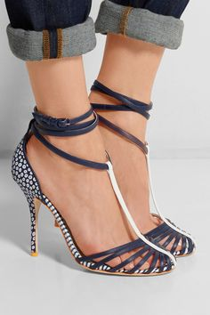 J.Crew + Sophia Webster Alicia leather and canvas pumps
