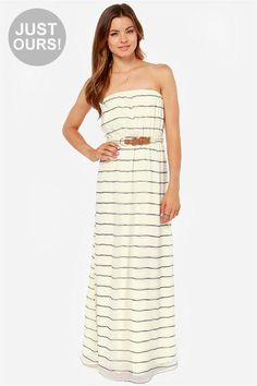 LuLu*s Exclusive! Ready or not, here comes the Ready or Nautical Striped Cream Maxi Dress to keep...