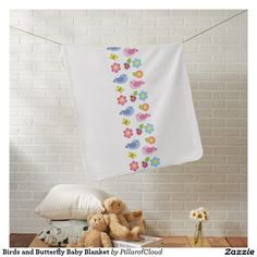 Birds and Butterfly Baby Blanket