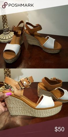 WEEKEND SALE Geniune leather sandals wedges Strap at ankle, soft and comfortable NO OFFERS PLEASE Franco Sarto Shoes Wedges