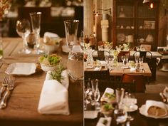 Table Setting Inspiration - Industrial, Rosemary, clear glasses and succulents