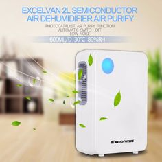 US Store Excelvan EF8886 2L Portable Air Dehumidifier Semiconductor Ultra-low Noise Environment-friendly Air Purify