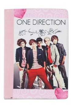 One Direction iPad Mini Leather Case with Stand, Autographed, Pink and Black One Direction Gifts, I Love One Direction, Leather Books, Leather Case, Day List, Computer Accessories, Ipad Mini, First Love, Gifts