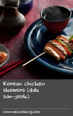 Korean chicken skewers (dak san-jeok) | Traditionally cooked over a charcoal grill, these chicken skewers can also be cooked in a chargrill pan. In Korea, the ends of the chicken and vegetables are trimmed after cooking to make a uniform shape. Try other ingredients than suggested in this recipe, such as beef, seafood or shiitake mushrooms seasoned with soy sauce, sesame oil and sugar. Soya Sauce Recipe, Beef Oven Recipe, Recipes With Soy Sauce, Chicken Sauce Recipes, Soy Chicken, Korean Chicken, Skewer Recipes, Chicken Skewers, Yum Yum Chicken