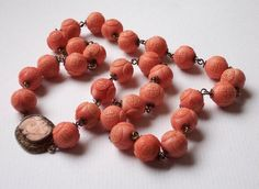 Antique Chinese Hand-Carved CORAL Bead Necklace Gilt Sterling Silver Victorian