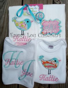 Monogrammed Baby Gift Set  Applique and by EmmyLouChildrens, $45.00