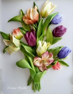 .tulips - silk embroidery