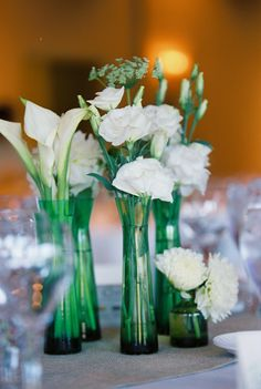 More bud vases centerpieces variety green and white