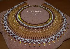 Free pattern for beaded necklace Semiramis in egyptian style Bead Crochet Patterns, Bead Embroidery Patterns, Seed Bead Patterns, Weaving Patterns, Color Patterns, Knitting Patterns, Mosaic Patterns, Art Patterns, Free Beading Tutorials