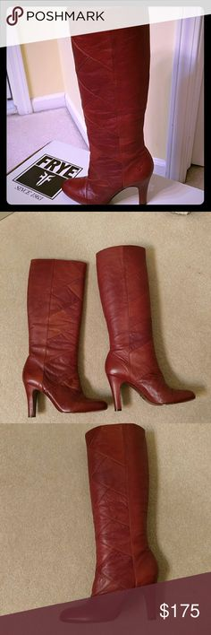 Frye Ava Tall These are the mist stunning tall boots by Frye. In excellent condition, worn a handful of times.  3.5 inch heel, 18 inches in height. Variation of leather, very sexy boots. The unmistakable Frye Cognac color. No trades. Frye Shoes Heeled Boots