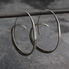 """Sterling Silver 2 mm x 19 mm ou 3//4/"""" fond plat Boucles d/'oreilles Créoles"""