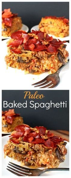 Paleo Baked Spaghetti- this dish is loaded with veggies, but tastes like comfort food! Whole30, gluten free, and dairy free.