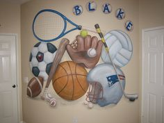 This is a massive sports mural for a a little boy that loves all things active.