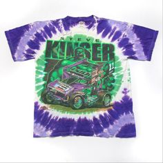 76f843da6 Vintage Steve Kinser Hulk Tie Dye World of Outlaws Sprint Car Racing T-Shirt  with