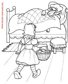 Little Red Riding Hood A Little Kid Coloring Page For Kids Free Kids Coloring Pages, Disney Coloring Pages, Colouring Pages, Coloring Pages For Kids, Coloring Books, Fairy Tale Activities, Red Riding Hood Party, Painting Templates, Princess And The Pea