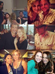 "Grey's Anatomy cast. Sara Ramirez (Callie Torres), Ellen Pompeo (Meredith Grey), Patrick Dempsey (Derek ""McDreamy"" Shepherd), Jessica Capshaw (Arizona Robbins), Justin Chambers (Alex Karev), Sarah Drew (April Kepner) & Camilla Luddington (Jo Wilson)."