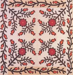 Applique Quilt top, c1870. Made by Mary Jane Lewis Scruggs or her mother Amanda Lewis. Missouri.