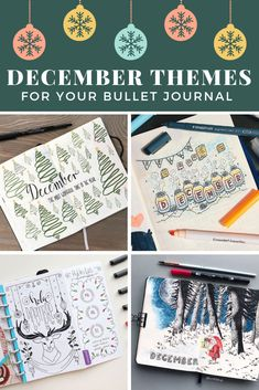 Are you ready for some exciting December Bullet Journal themes? We've got festive cover pages and themes for the Holiday season! Bullet Journal October, Bullet Journal 2019, Bullet Journal Printables, Bullet Journal School, Bullet Journal Ideas Pages, Bullet Journal Layout, Bullet Journal Inspiration, Journal Pages, Bullet Journals