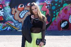 River Island Lime skirt, Ellos leather jacket, net shirt and studded clutch