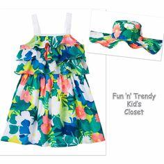 NWT Gymboree SUNNY SAFARI Girls Sz 6 12 18 Months Tier Dress & Sun Hat 2-PC SET #Gymboree #CasualParty