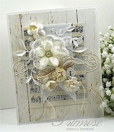 Music notes in decor Winter Whites by rebeccadeeprose - Cards and Paper Crafts at Splitcoaststampers ((shabby-chic-cards)) Card Making Inspiration, Making Ideas, Scrapbooking Vintage, Shabby Chic Cards, Shabby Chic Flowers, Beautiful Handmade Cards, Pretty Cards, Card Tags, Paper Cards