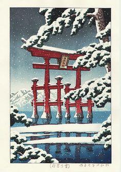 Hasui Kawase détail - Miyajima sous la neige 1929