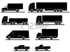 Several truck silhouettes for transportation photo