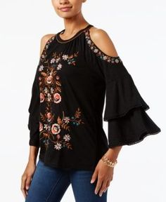 Anna Sui Loves INC Embroidered Cold-Shoulder Top, Created for Macy's - Black XXL