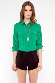 Push My Buttons Shirt in Green $29 at www.tobi.com