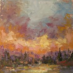 Plein air sunset  Oil on panel
