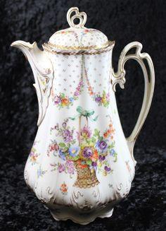 """Limoges Porcelain (France) - Coffee Pot. Flower Basket Decoration. H:10"""" (1154x1600)"""