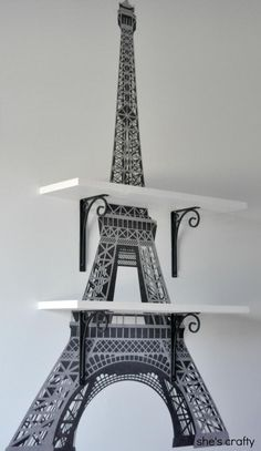 Eiffel Tower Wall Shelves for Teen/Tween Girl Bedroom We've done a few updates to my daughter's Paris Themed room. She got a new bunk bed so we switched her room around. She sleeps on the top. Paris Room Decor, Paris Rooms, Paris Themed Rooms, Paris Theme Decor, Paris Themed Bedroom Decor, Woman Bedroom, Dream Bedroom, Girls Bedroom, Guest Bedrooms