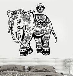 Wall Vinyl Elephant Floral Flower Tribal Ornament Mural Vinyl Decal (z3368)