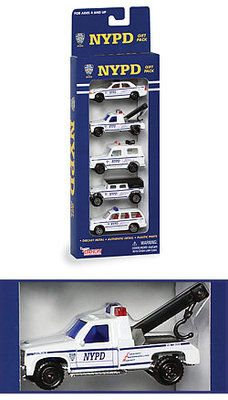 "NYPD Vehicle Set    Toy police cars, hummers and tow trucks with the famous NYPD logo for boys both big and small. Whether for a collection or for endless hours of high speed action, everyone will enjoy our NYPD vehicles.    Observe the details of each car including the NYPD's signature motto:  ""Courtesy, Professionalism, Respect.""  Set consists of 5 die-cast vehicles  For ages 4 and up.    Cars measures 3"" long.    Package measures 13"" tall x 4 1/2"" wide x 1 1/2"" deep"