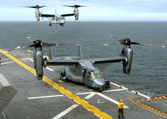 USS Wasp with two Osprey aircraft arriving