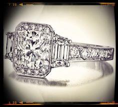 Cushion Cut Diamond Engagement Ring Trapezoids sides graduated pave band