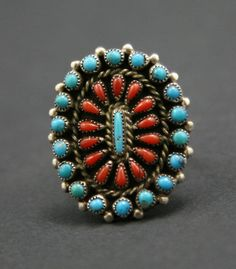 B. & A. Hattie - Zuni Turquoise and Coral Petit Point and Silver Ring