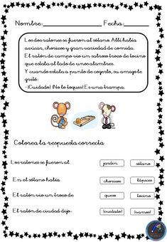 Fichas para trabajar la comprensión lectora - Imagenes Educativas Spanish Class, Teaching Spanish, Kids Learning Activities, Kids And Parenting, How To Plan, Education, Teaching, Reading, Reading Comprehension