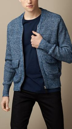 Burberry London Cotton Blend Knitted Bomber Jacket