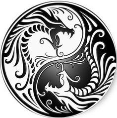 black and white ying yang dragon