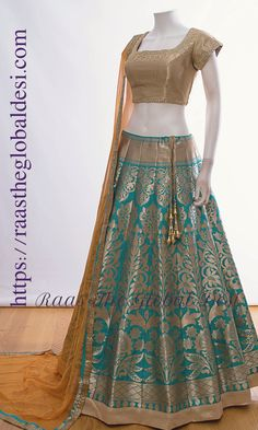 CHANIYA CHOLI 2018 Silk Chania with designer brocade blouse and contrast dupatta Indian Gowns Dresses, Indian Fashion Dresses, Dress Indian Style, Indian Designer Outfits, Indian Outfits, Indian Clothes, Indian Designers, Western Outfits, Half Saree Lehenga