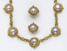 A set of cultured pearl and eighteen karat gold jewelry, Alix comprising a necklace designed with links of pink cultured pearls, bezel-set and accented by 22k gold granulation, together with a pair of earrings of matching design; each piece signed Alix