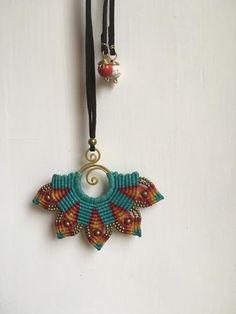Mandala Blue Macrame Necklace/ Pendant – Om Ethnic Handicraft
